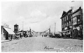 Early Prince George street scene showing the Ritts-Kifer Hall at right.