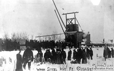 "Photo of the ""Pioneer"" track-setter arriving in Prince George, January 1914."