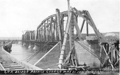 Photo of the Grand Trunk Pacific Railway bridge under construction, May 1914.