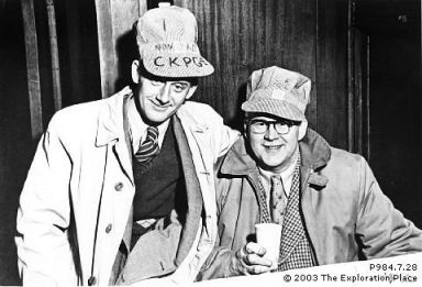 Photo of Jack Carbutt and Cecil Elphicke, original staff of CKPG Radio.
