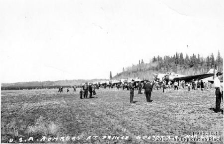 Photo of U.S. bombers at the Prince George airport, March 1941.