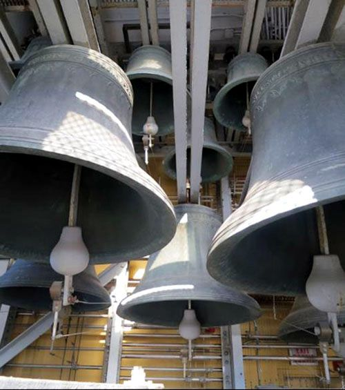 Photo of small and medium bells in the Peace Tower carillon.