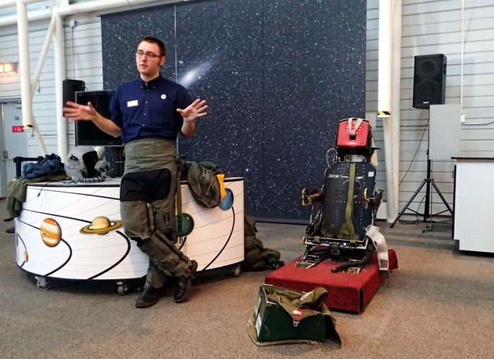 Photo of ejection seat demonstration at Canada Museum of Aviation and Space.
