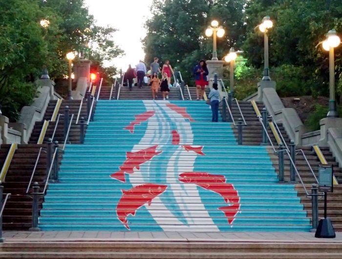 "Photo of ""Jump!"" fish mural on York Street steps."
