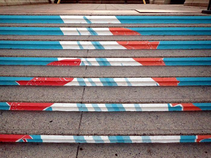 Closeup photo of fish mural on York Street steps.
