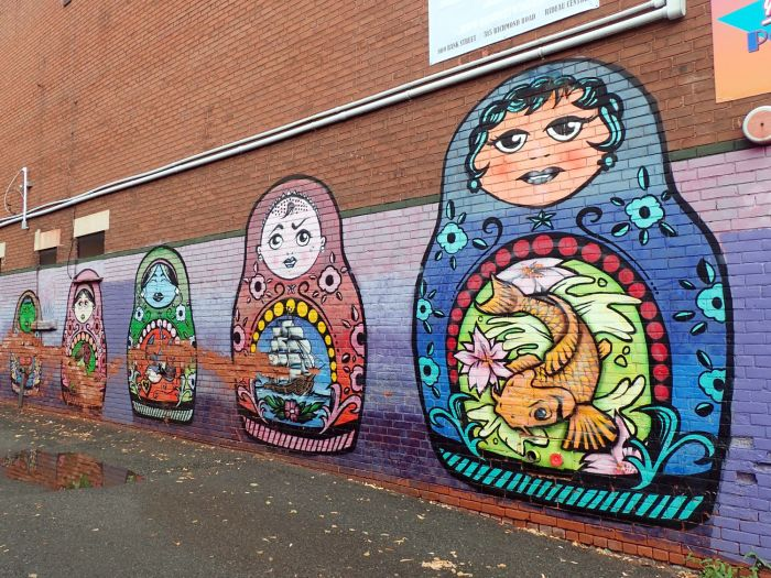 Photo of Russian nesting doll mural on Bank Street, Ottawa.