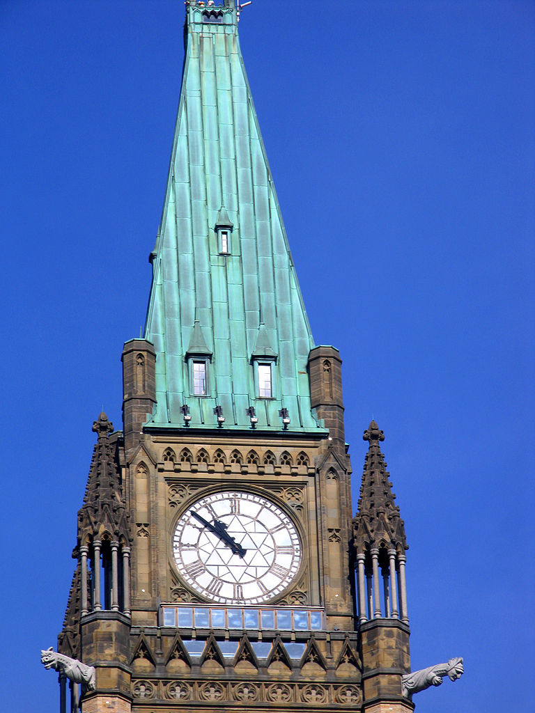 Photo of Peace Tower clock and observation deck.
