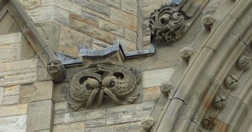 Photo of different types of carvings on the Peace Tower.