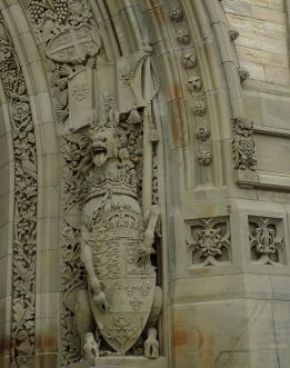 Photo of horse grotesque guarding south entry arch of Peace Tower.