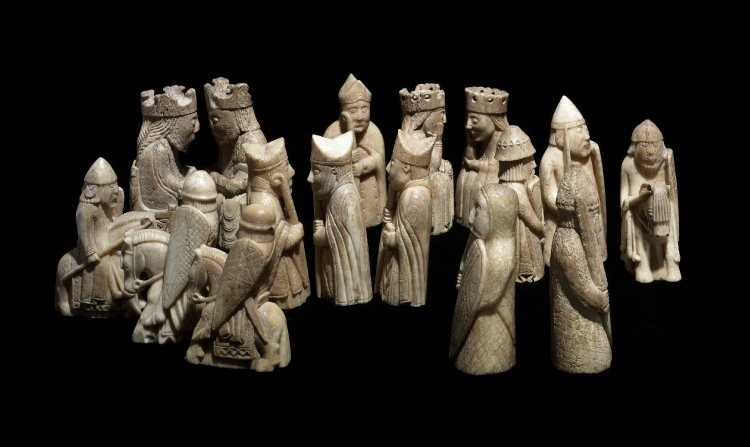 Photo of various Lewis chessmen.