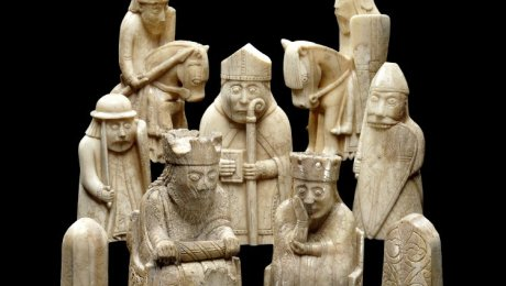 Photo of a collection of Lewis chessmen.