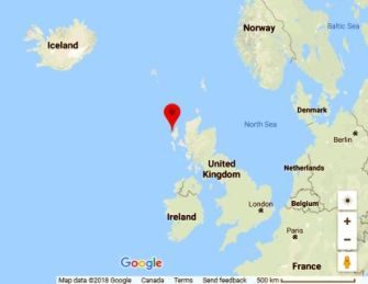 Google map showing Uig, Isle of Lewis, in relation to Norway, Iceland and Ireland.