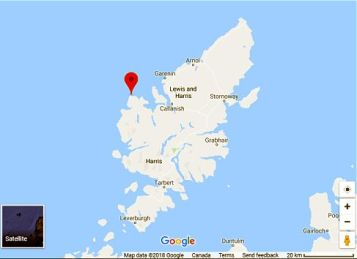 Map showing Uig on Isle of Lewis, Scotland.